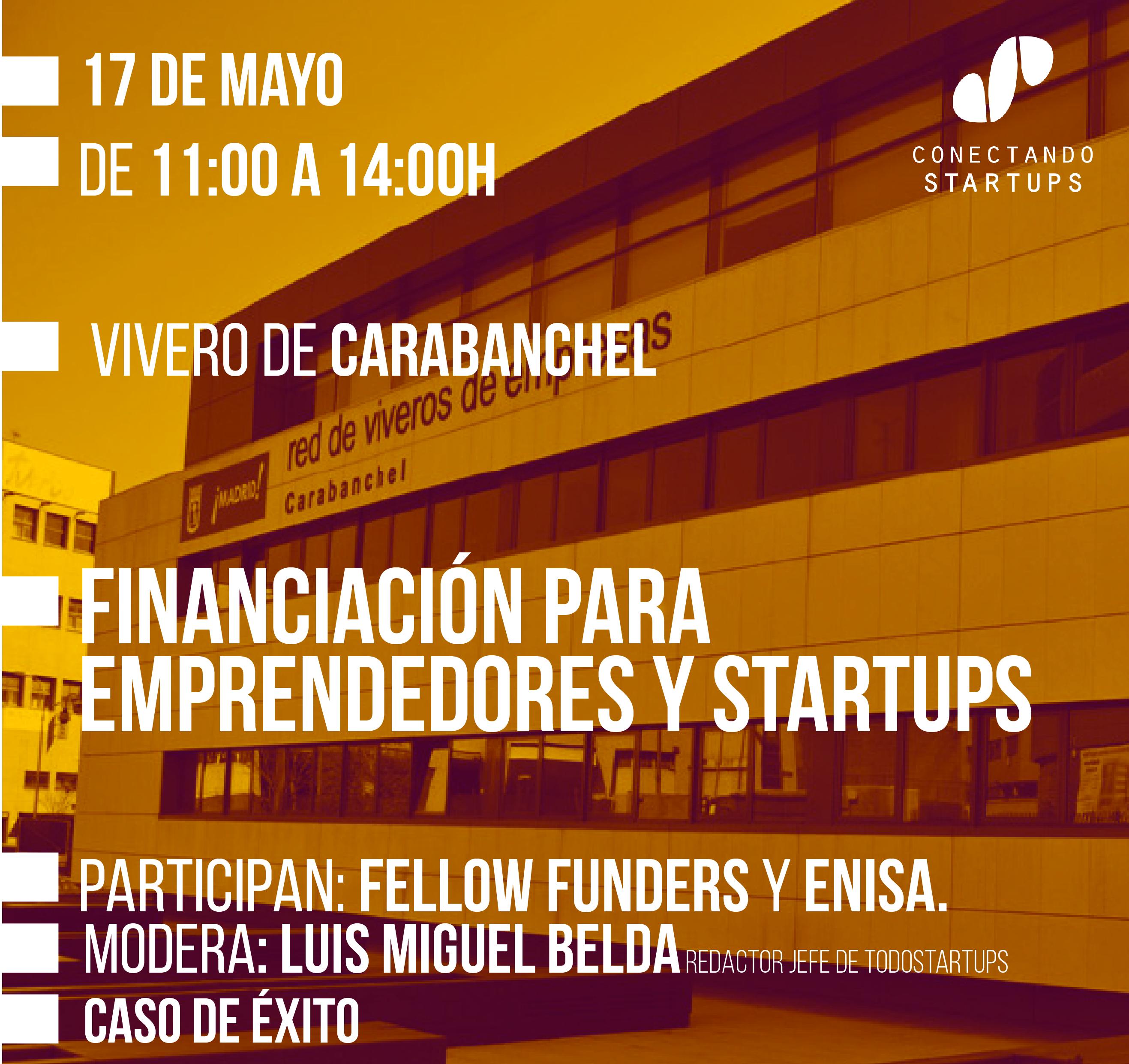 Financiación para startups y emprendedores, el 17 de mayo en el Vivero de Empresas de Carabanchel